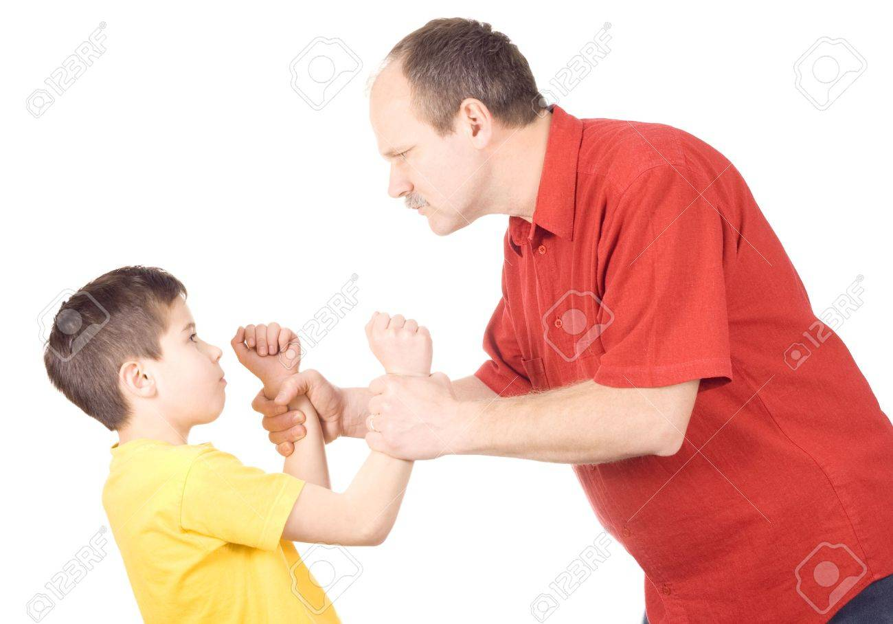 Young kid about to be thumped by father Stock Photo - 7045368