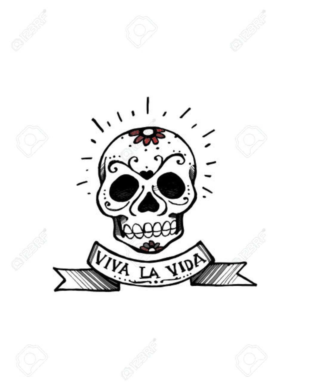 Dessin Representant La Mort tiré par la main illustration vectorielle ou le dessin d'un crâne et