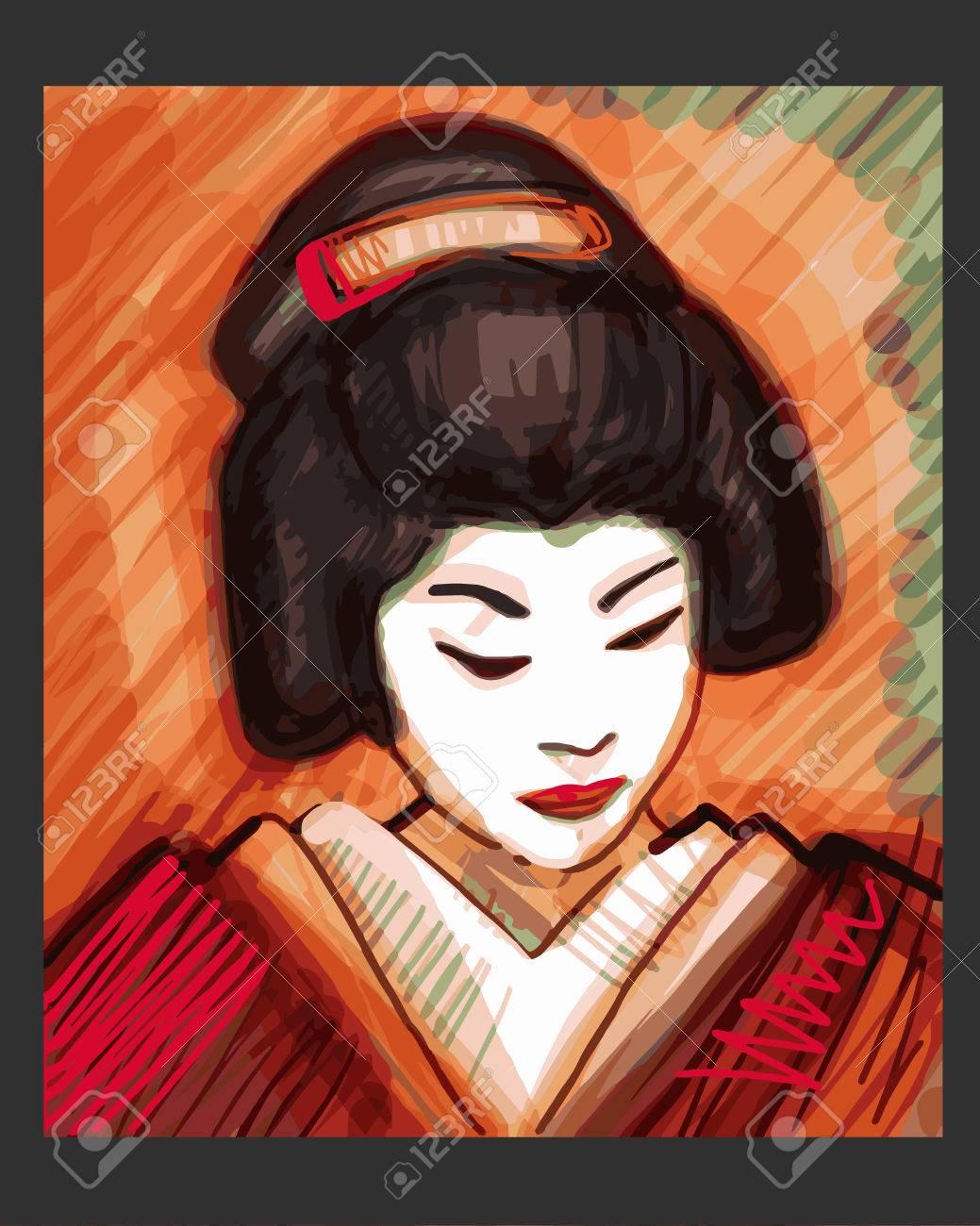 Dibujado A Mano Ilustración Vectorial O Dibujo De Una Geisha