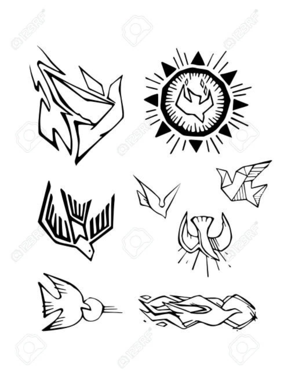 手描きベクトル イラストやヒイラギの精神を表す別のハトの図面の