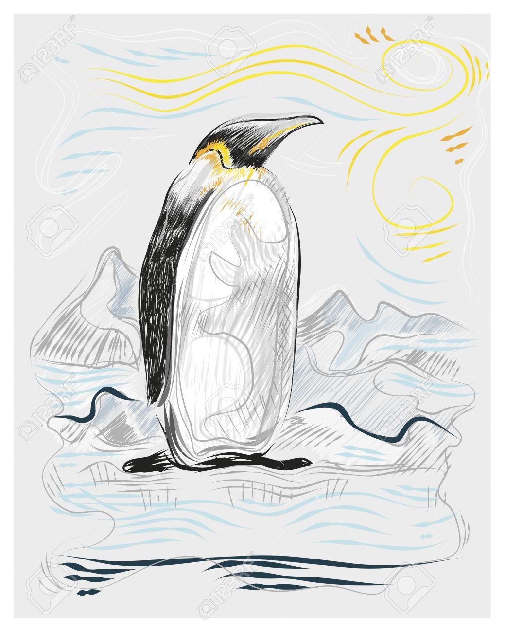 手描き、ポーラー ・ ランドス ケープのベクトル イラストや図面のペンギン