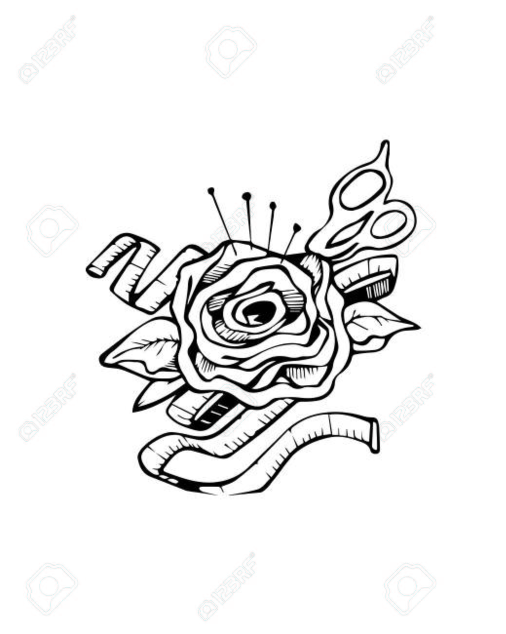 hand drawn vector illustration or drawing of a rose with a pair