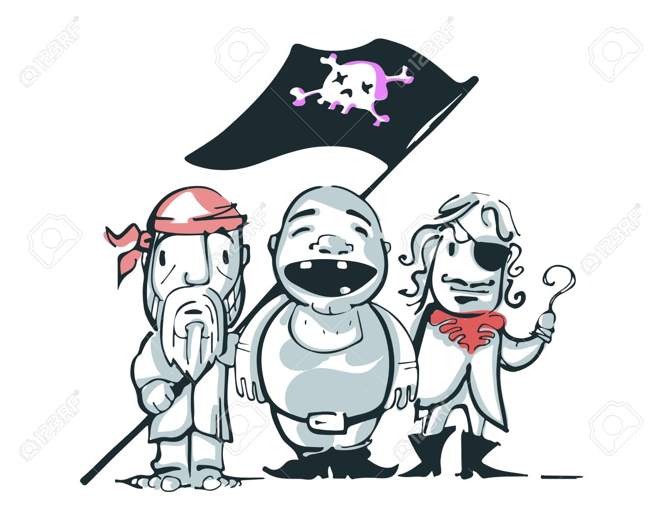 hand drawn vector illustration or drawing of some pirates