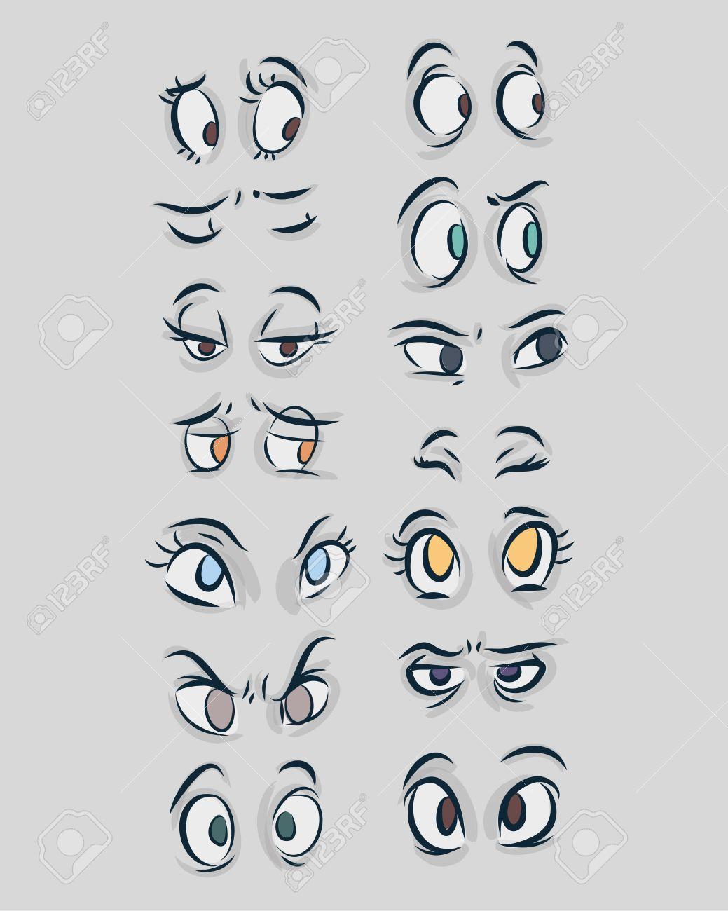 手描きのベクトル イラストや漫画の漫画のスタイルで目の異なる種類の図面のイラスト素材 ベクタ Image 3508