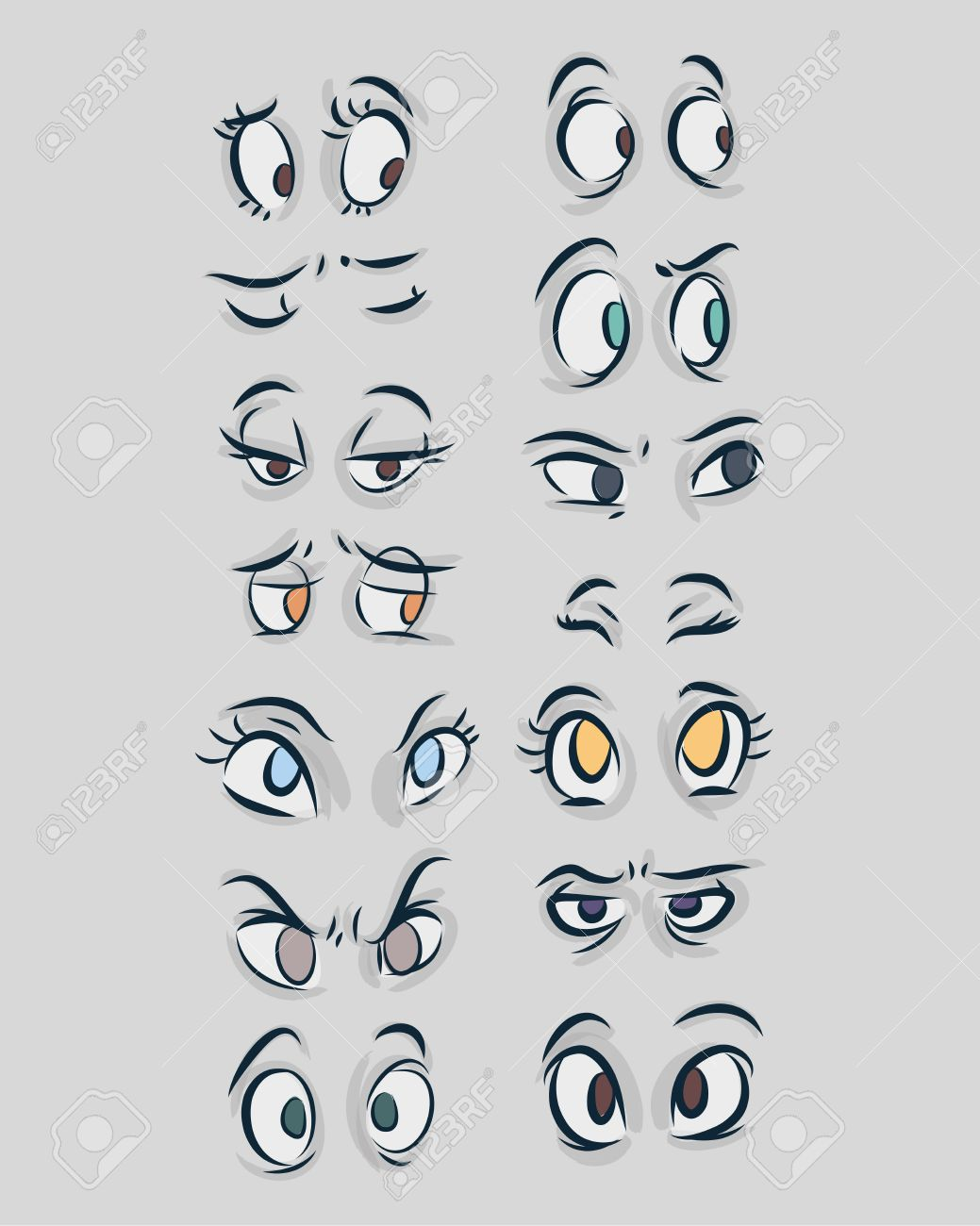 Hand drawn vector illustration or drawing of different types of eyes in a cartoon comic style