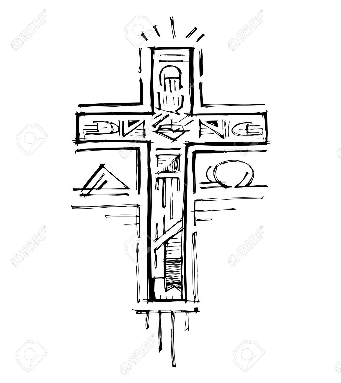 Hand drawn vector illustration or drawing of a religious cross hand drawn vector illustration or drawing of a religious cross with different symbols banque d buycottarizona