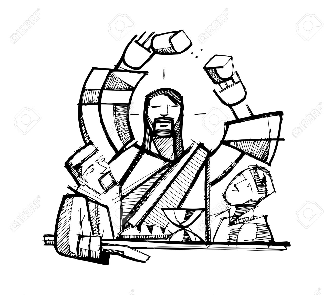 Hand Drawn Vector Illustration Or Drawing Of Jesus Christ Sharing Eucharist  Bread With Two Of His