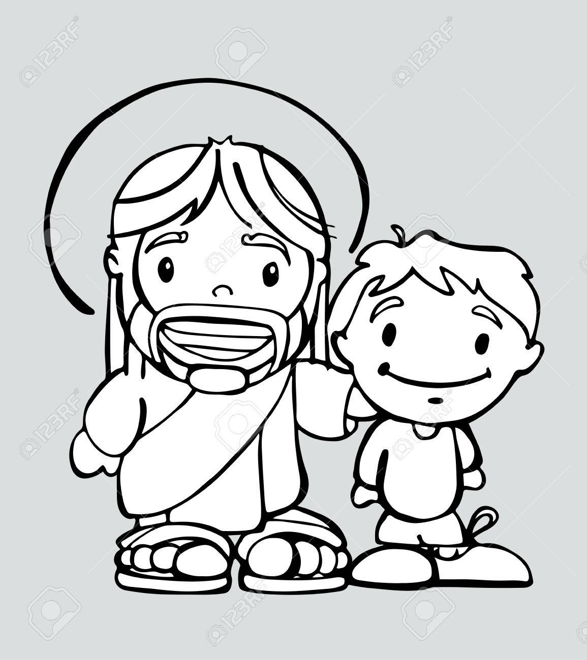 hand drawn vector illustration or drawing of a cartoon of jesus