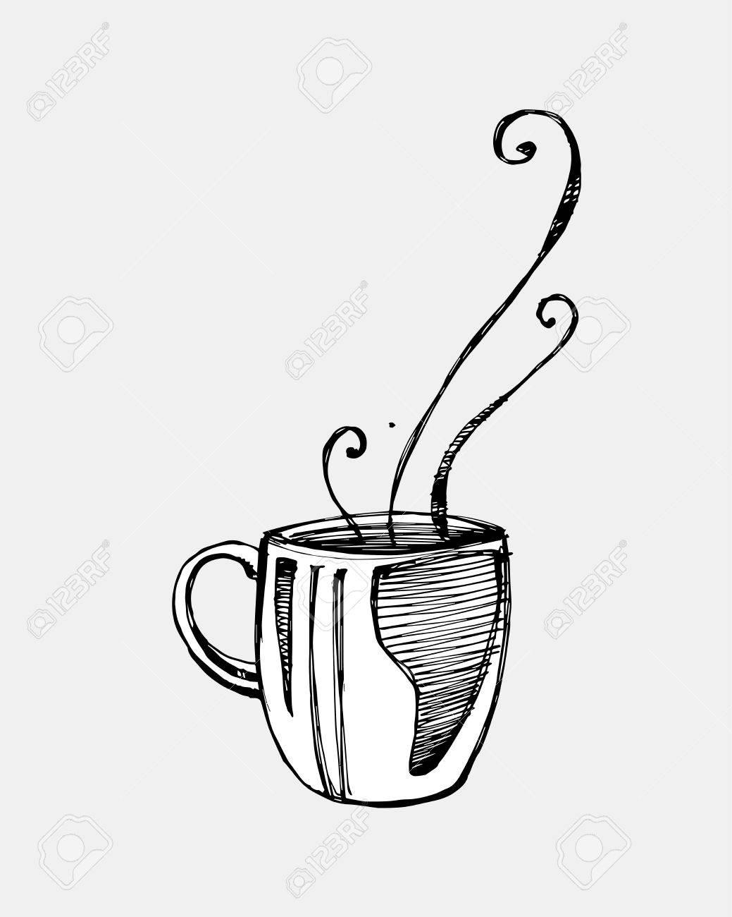 Dessin Tasse De Café Fumant hand drawn vector illustration ou un dessin de tasse de café fumant