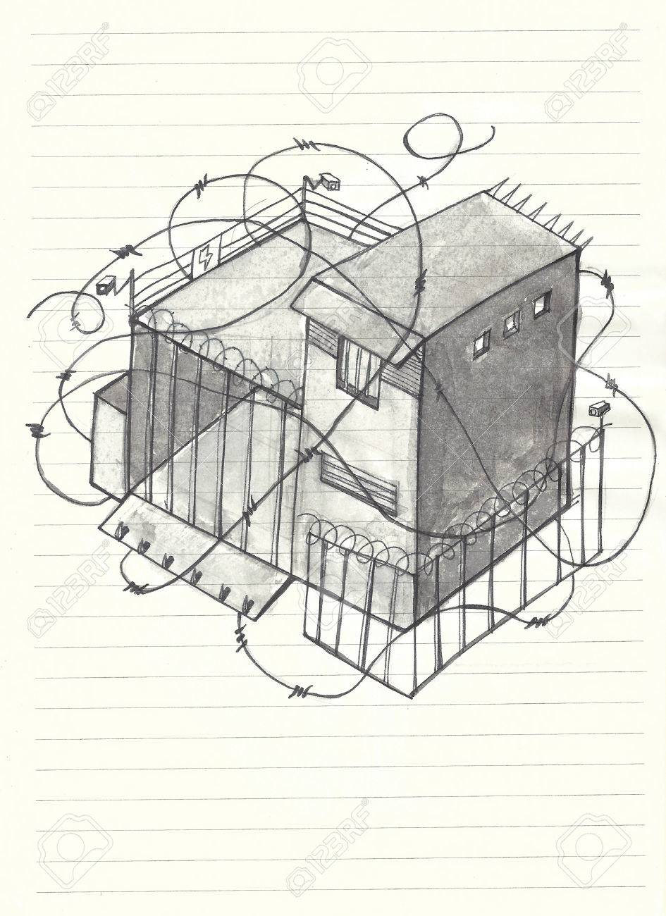 Hand Drawn Illustration Of A House With A Lot Of Barb Wire, Cameras ...