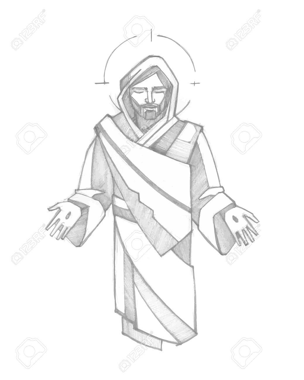 Hand Drawn Vector Illustration Ou Un Dessin De Jesus Christ Ressuscite Clip Art Libres De Droits Vecteurs Et Illustration Image 47651229
