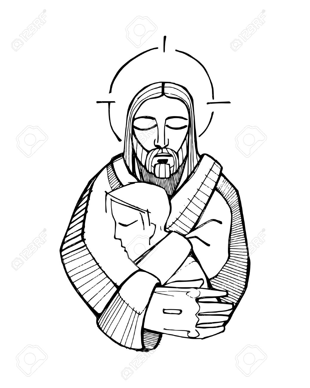 hand drawn vector illustration or drawing of jesus christ hugging