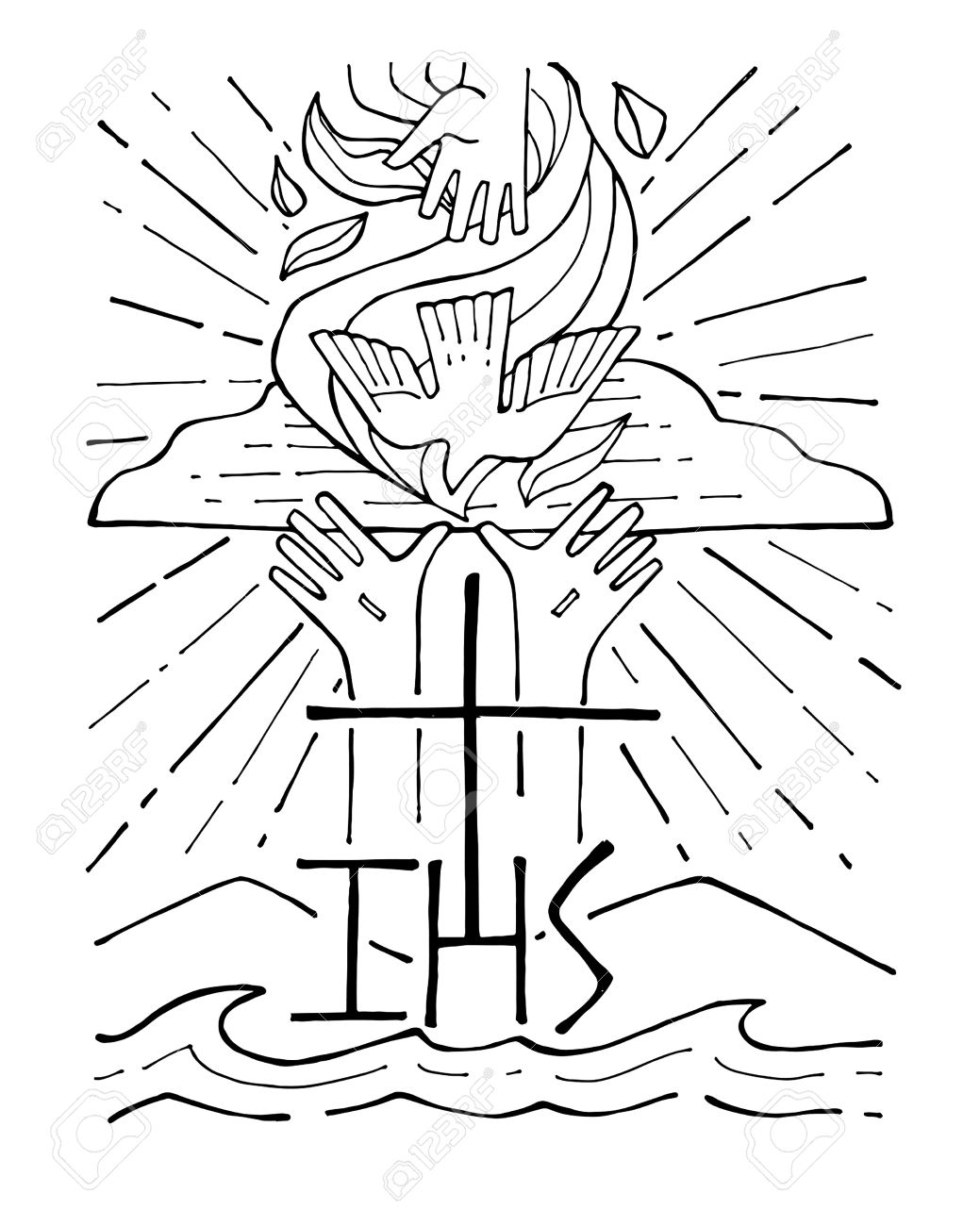 Hand drawn vector illustration or drawing of The Holy Trinity - 51679738