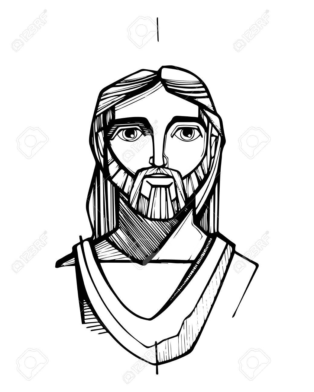 Hand Drawn Vector Illustration Or Drawing Of Jesus Christ Face Stock Vector    63978992