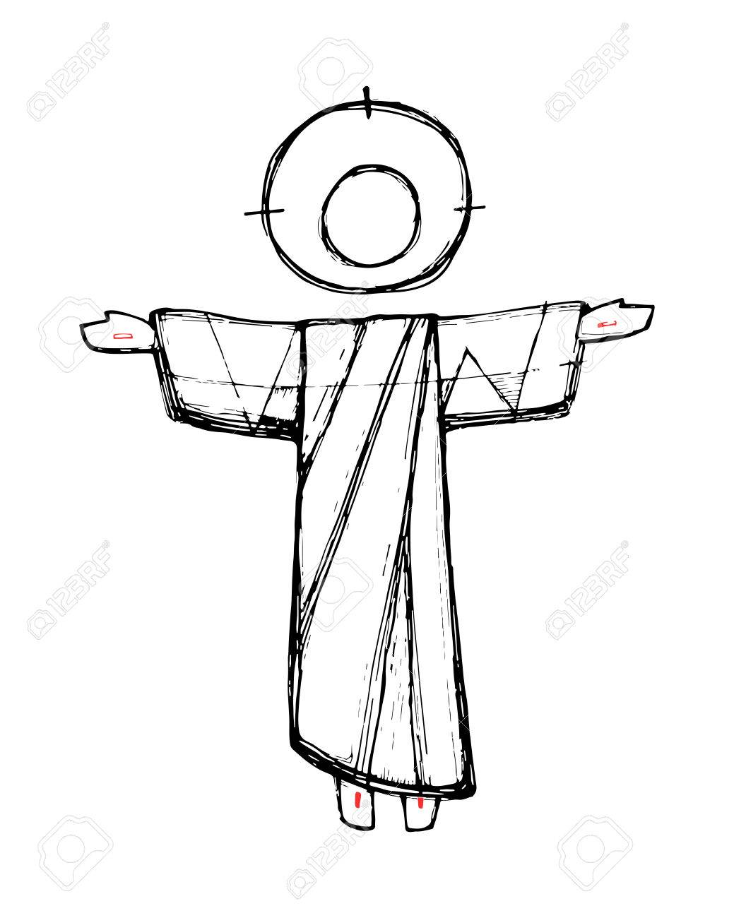 hand drawn vector illustration or drawing of jesus christ