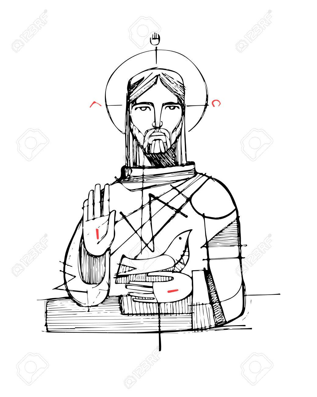 Hand Drawn Vector Illustration Or Drawing Of Jesus Christ And Royalty Free Cliparts Vectors And Stock Illustration Image 63984686