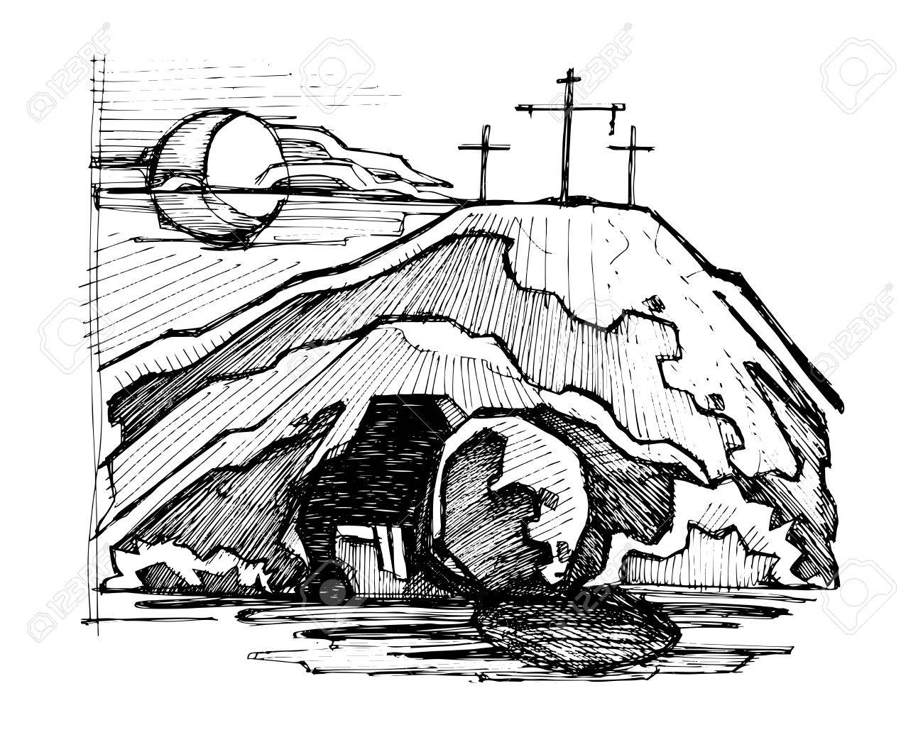Hand drawn vector illustration or drawing of Jesus Christ empty tomb - 68762709