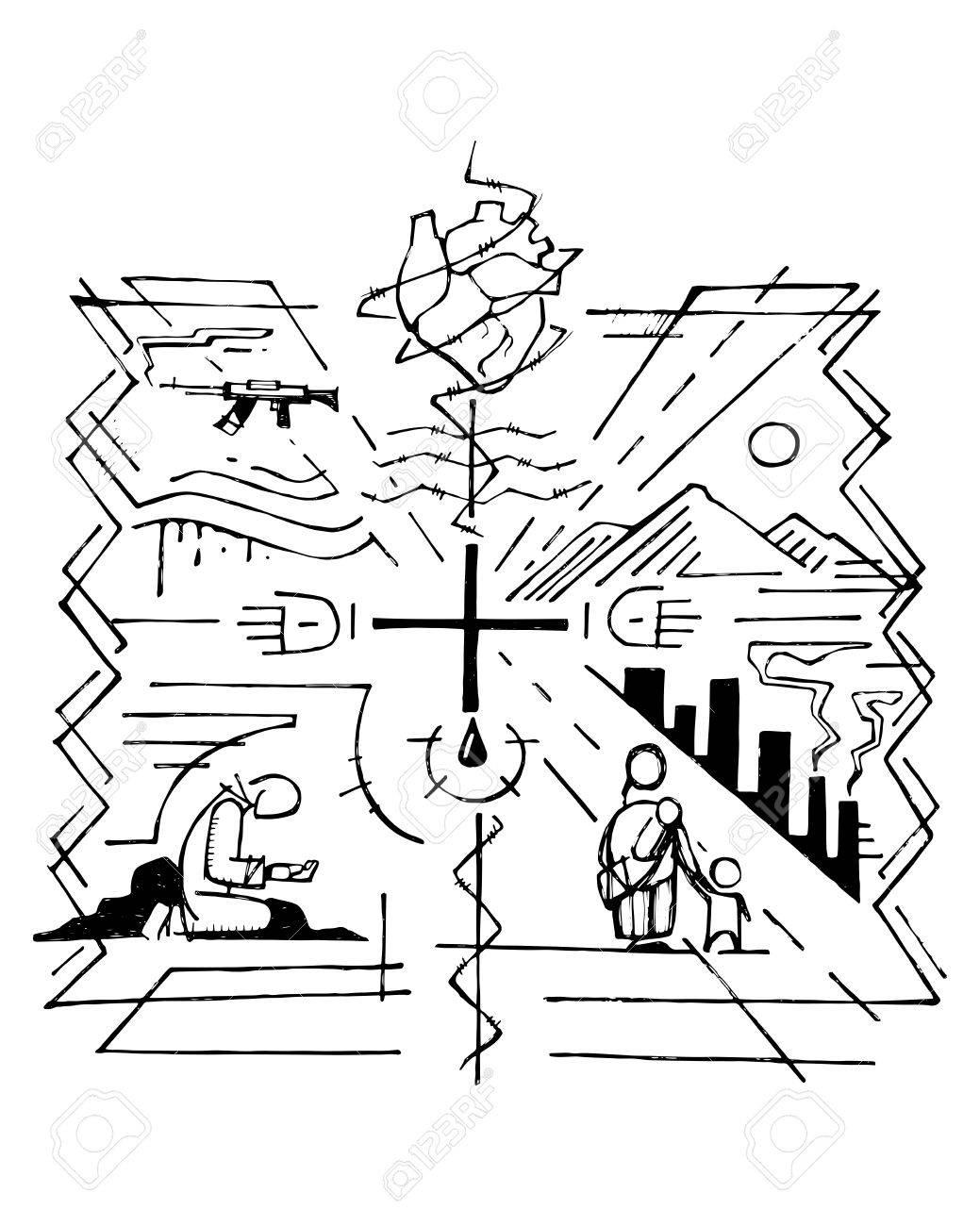 mão de ilustração vetorial desenhada ou desenho de uma cruz