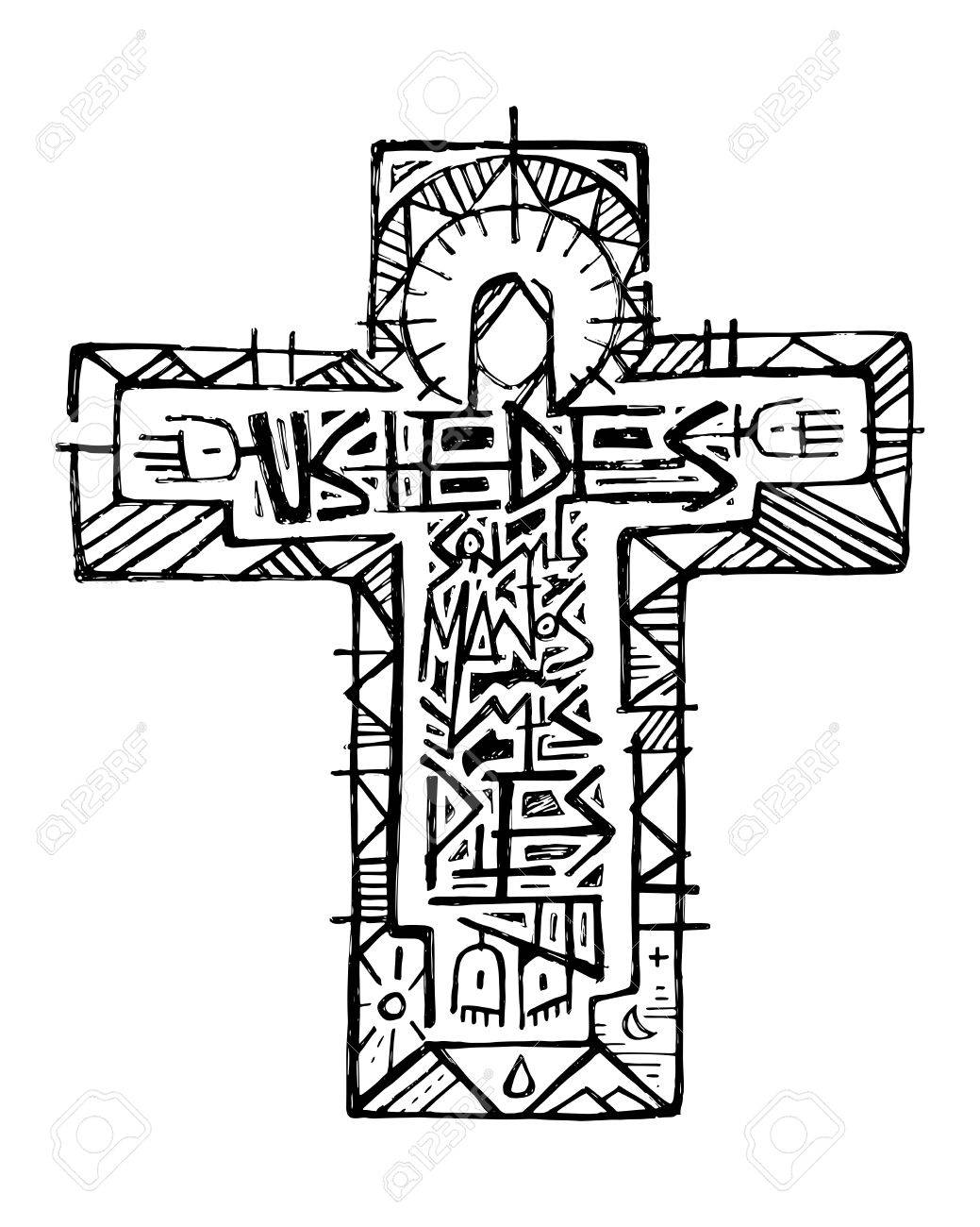 Hand Drawn Vector Illustration Or Drawing Of Jesus Christ At