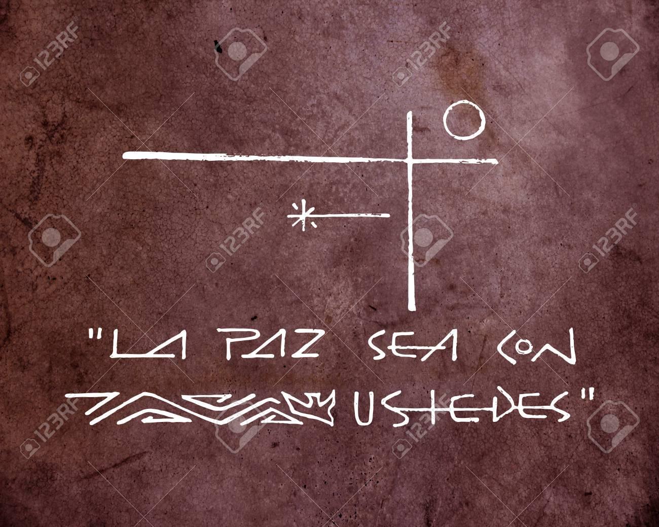 Dibujado A Mano Ilustración O Dibujo De Una Cruz Cristiana Y Una Frase En Español Que Dice La Paz Mar Con Ustedes Que Significa La Paz Sea Contigo