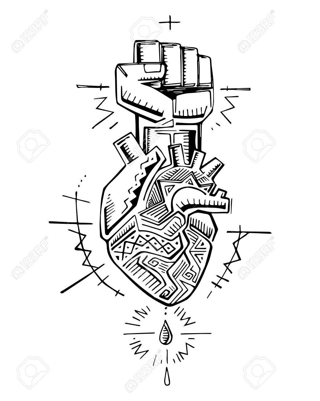 Illustration Dessiné à La Main Ou Dessin D Un Coeur Humain Et D Un Poing Avec Des Symboles Indigènes