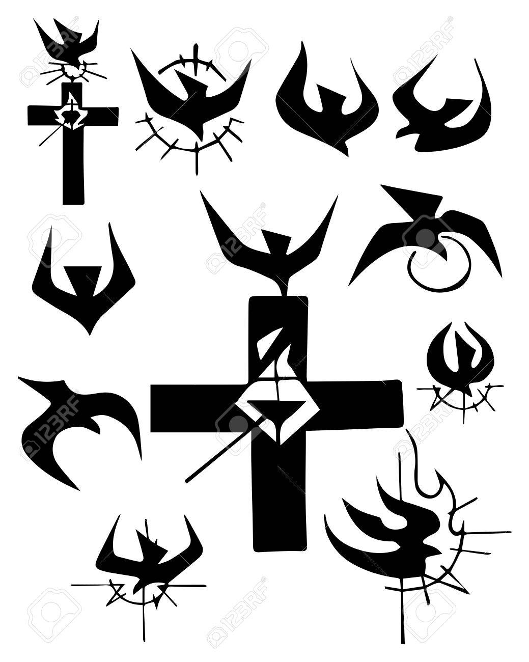 Hand drawn vector illustration or drawing of a christian cross hand drawn vector illustration or drawing of a christian cross and other religious symbols stock vector biocorpaavc Choice Image