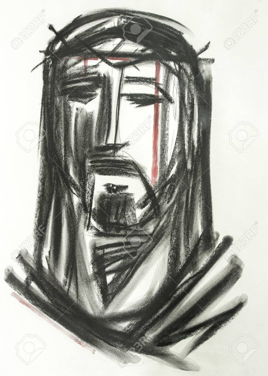 Illustration Dessinee A La Main Ou Dessin De Jesus Christ Face A