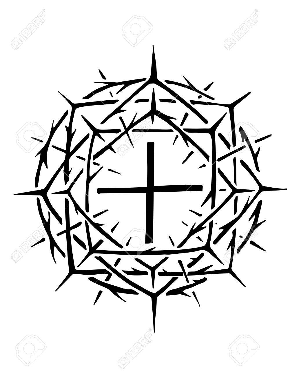 Hand drawn vector illustration or ink drawing of the christian hand drawn vector illustration or ink drawing of the christian symbol of jesus christ crown of biocorpaavc Choice Image