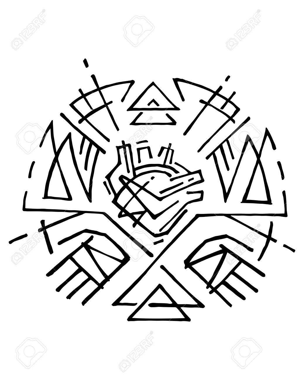 Illustration Dessinée à La Main Ou Dessin à L Encre D Un Coeur Humain Et Symbole Des Mains