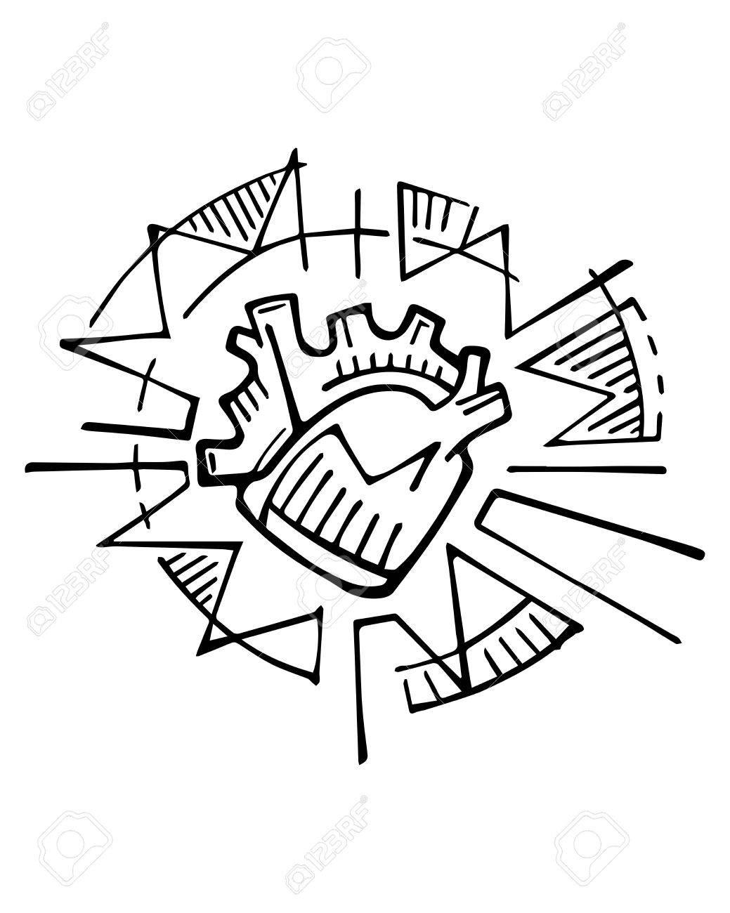 Dessinés à La Main Illustration Ou Dessin à L Encre D Un Symbole De Coeur Humain