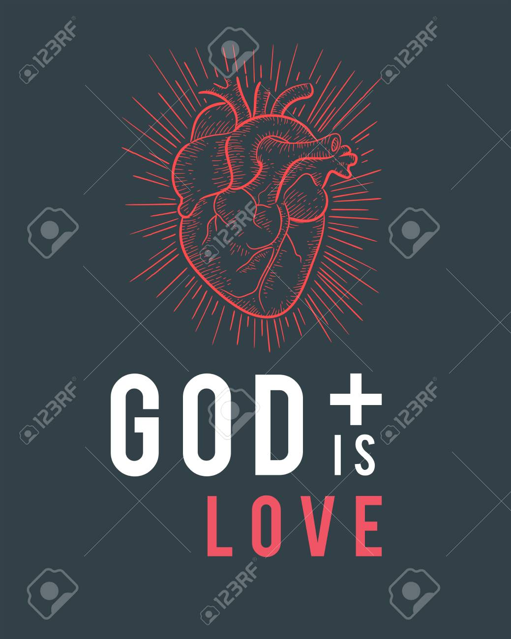 Ilustracion O Dibujo De La Frase Dios Es Amor Y Corazon Rojo Humano