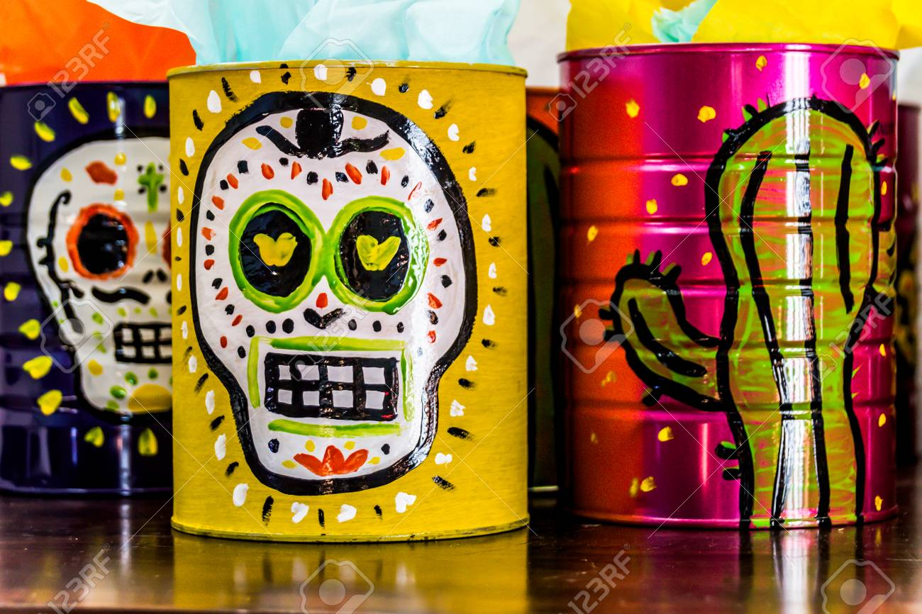 Photograph Of A Skull Mexican Symbol Traditional Day The Dead Celebration Stock Photo