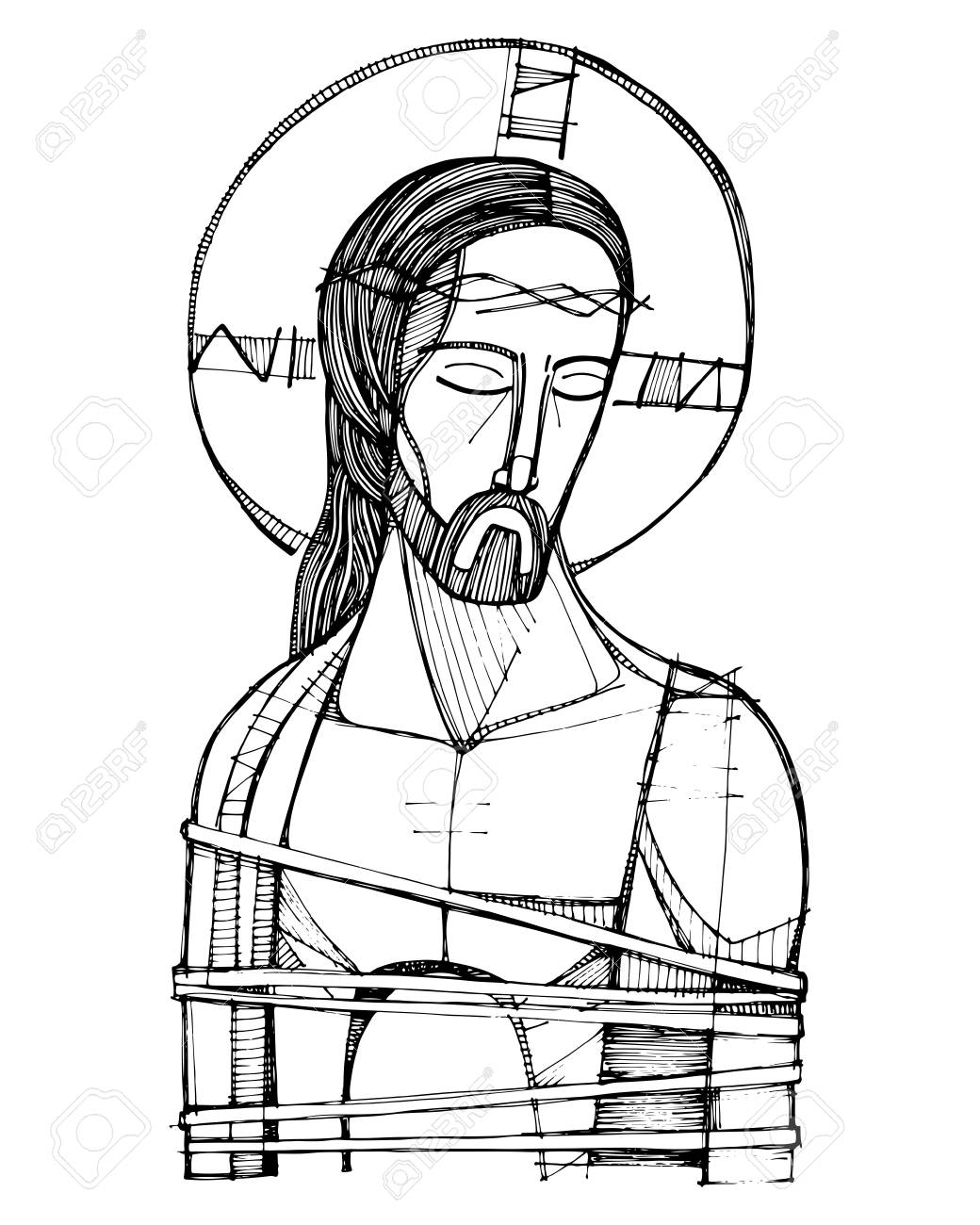 Illustration Vectorielle Dessines A La Main Ou Dessin De Jesus