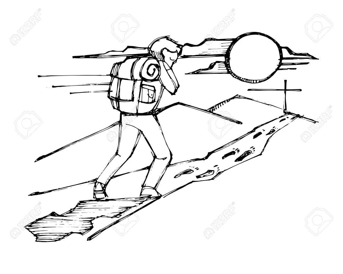 Hand drawn vector ink illustration or drawing of a Man with backpack following Jesus steps - 94943300