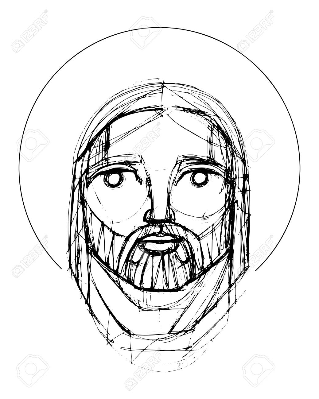 Hand drawn vector pencil illustration or drawing of jesus christ face in an indigenous style stock