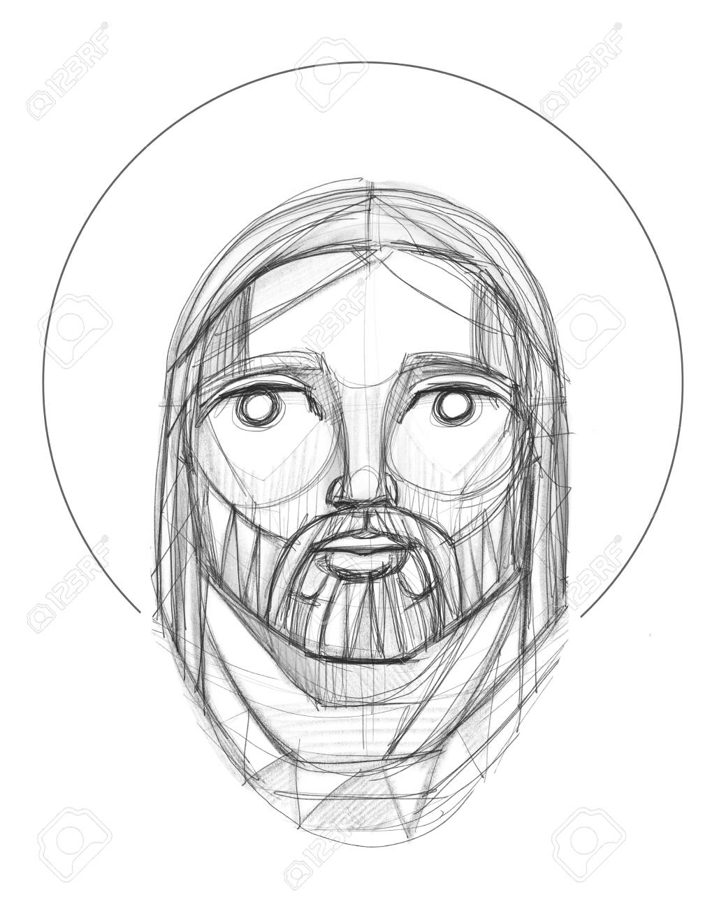 Hand drawn pencil illustration or drawing of jesus christ face in an indigenous style stock illustration