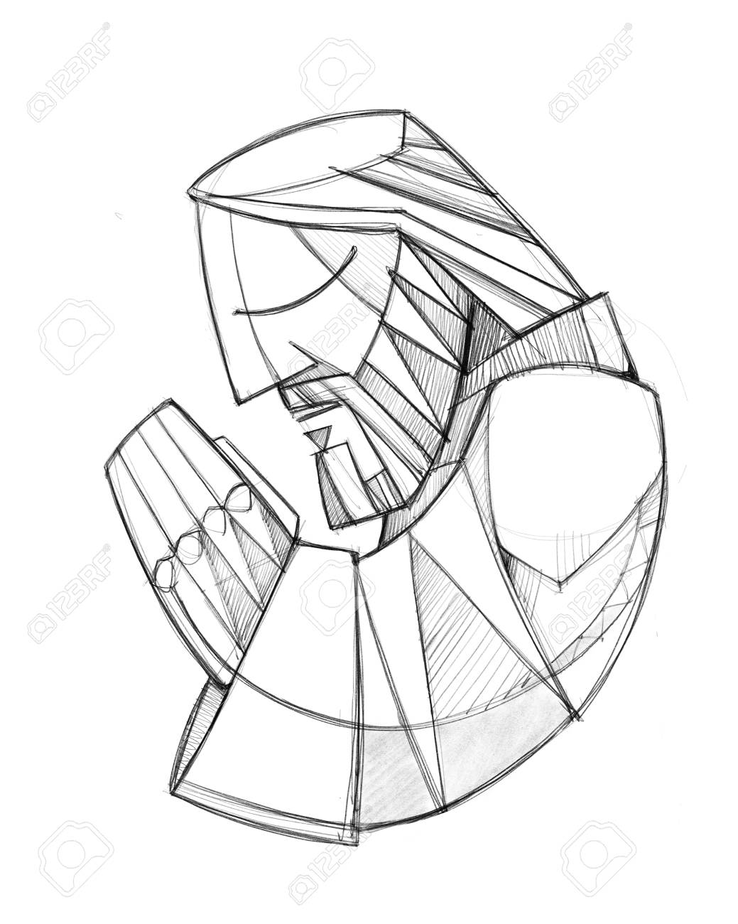 Hand drawn pencil illustration or drawing of jesus christ praying stock illustration 110792417
