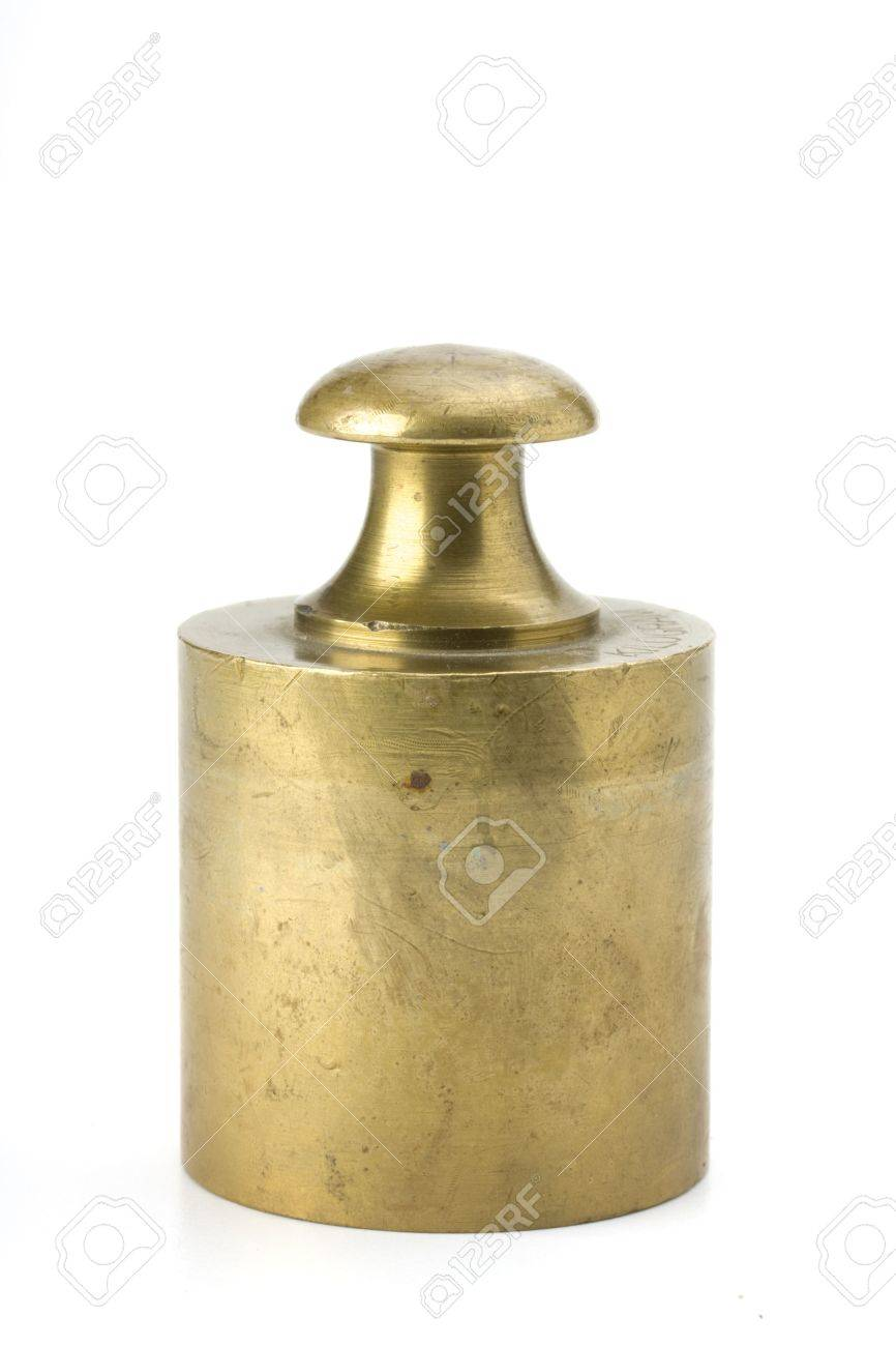 brass weight on white background Stock Photo - 3594133