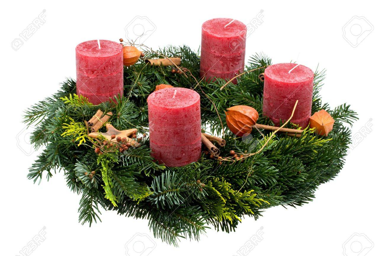 advent wreath isolated on white background Stock Photo - 3938973