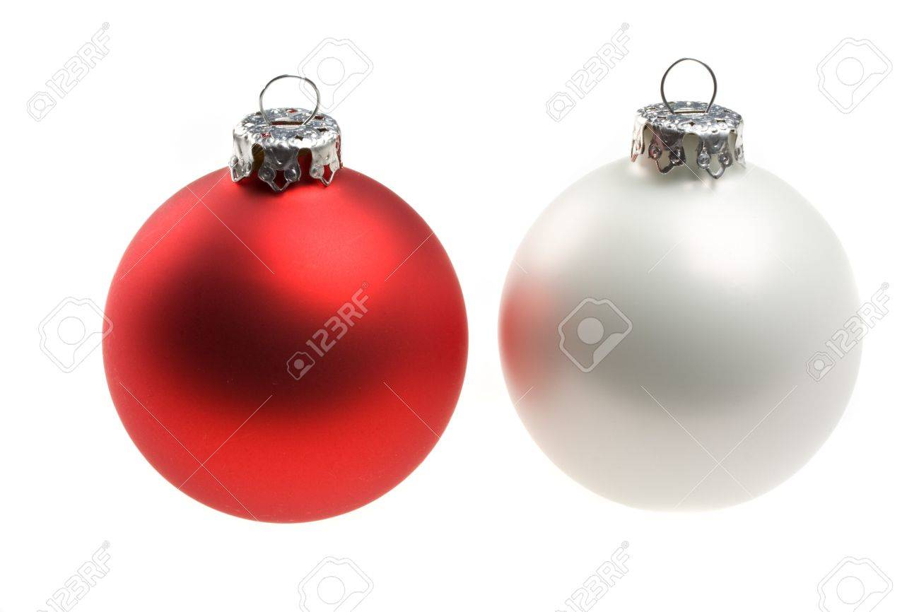single red and white christmas baubles isolated on white Stock Photo - 3954633