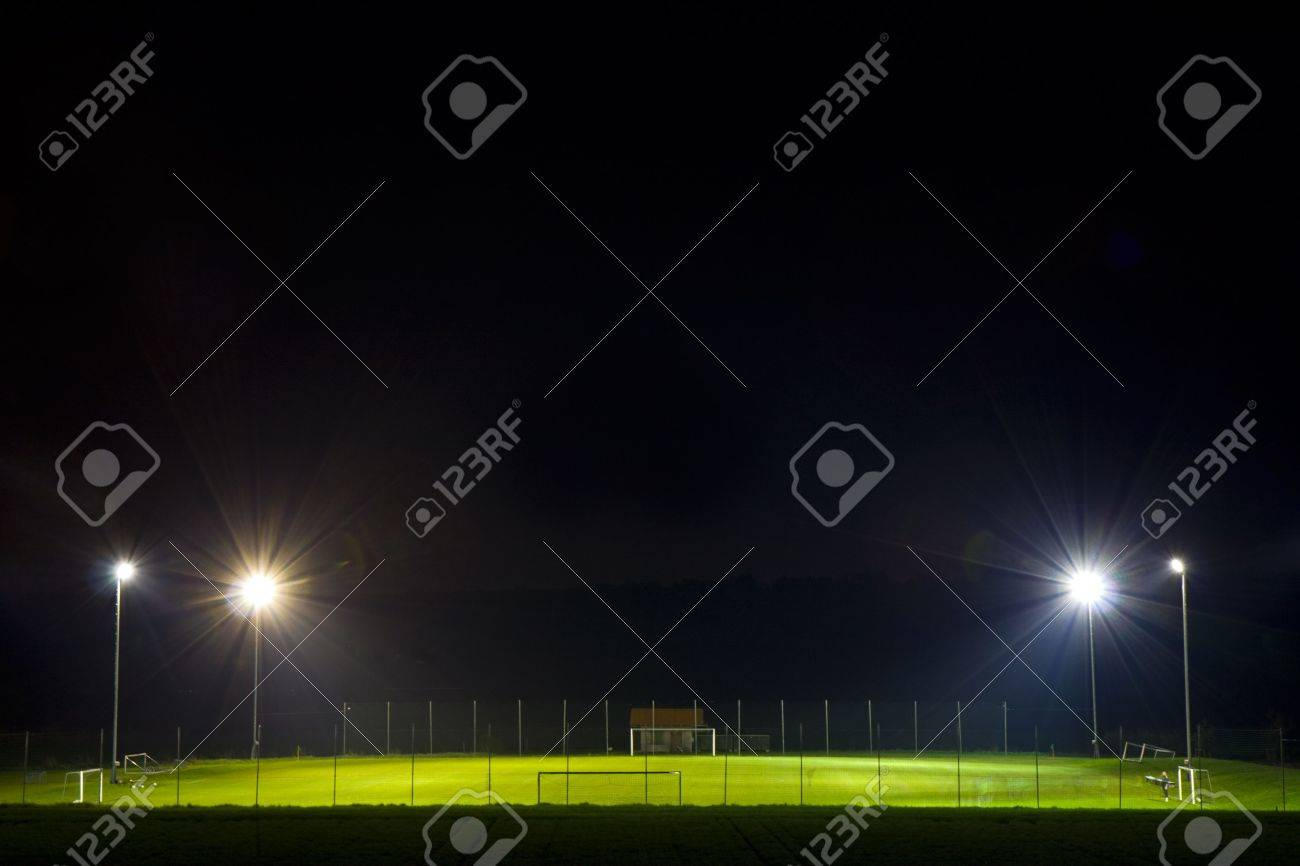 empty soccer pitch illuminated at night Stock Photo - 4745316