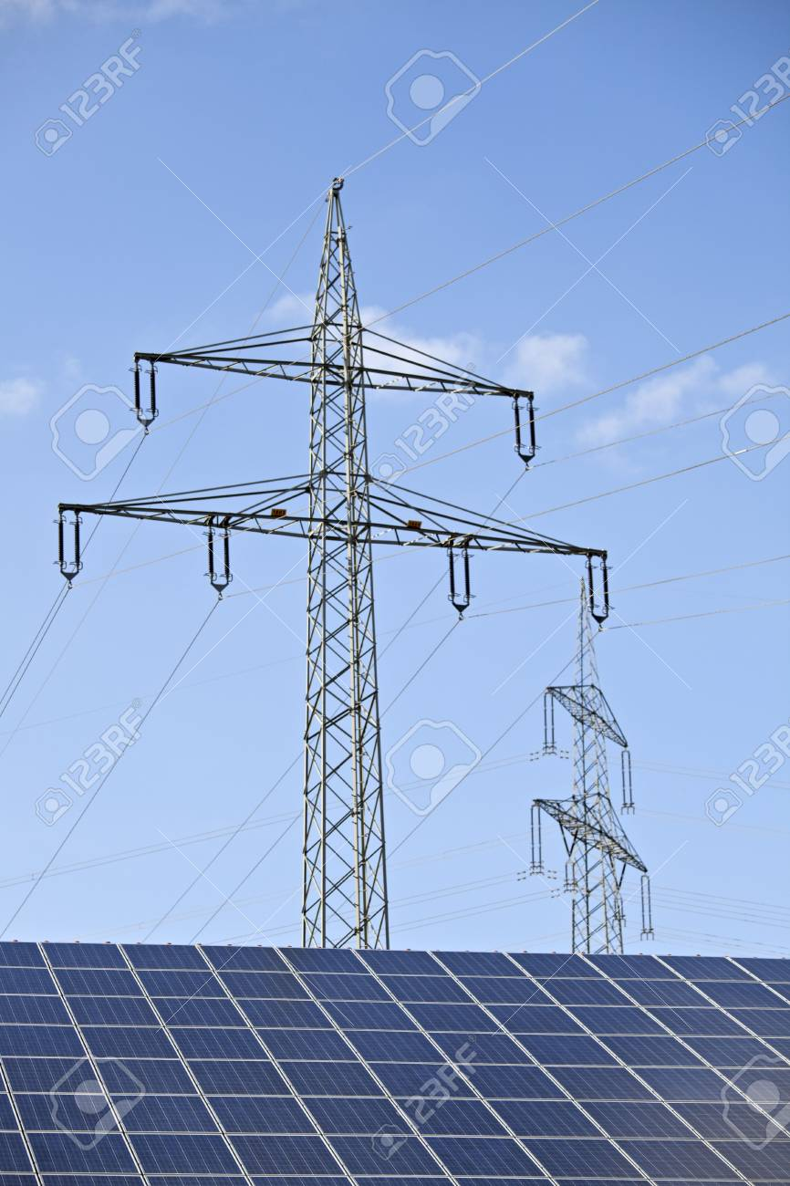 solar panels and a pylon on a sunny day Stock Photo - 5131085