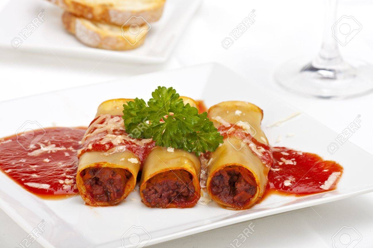 traditional cannelloni dish with tomato sauce Stock Photo - 5808622