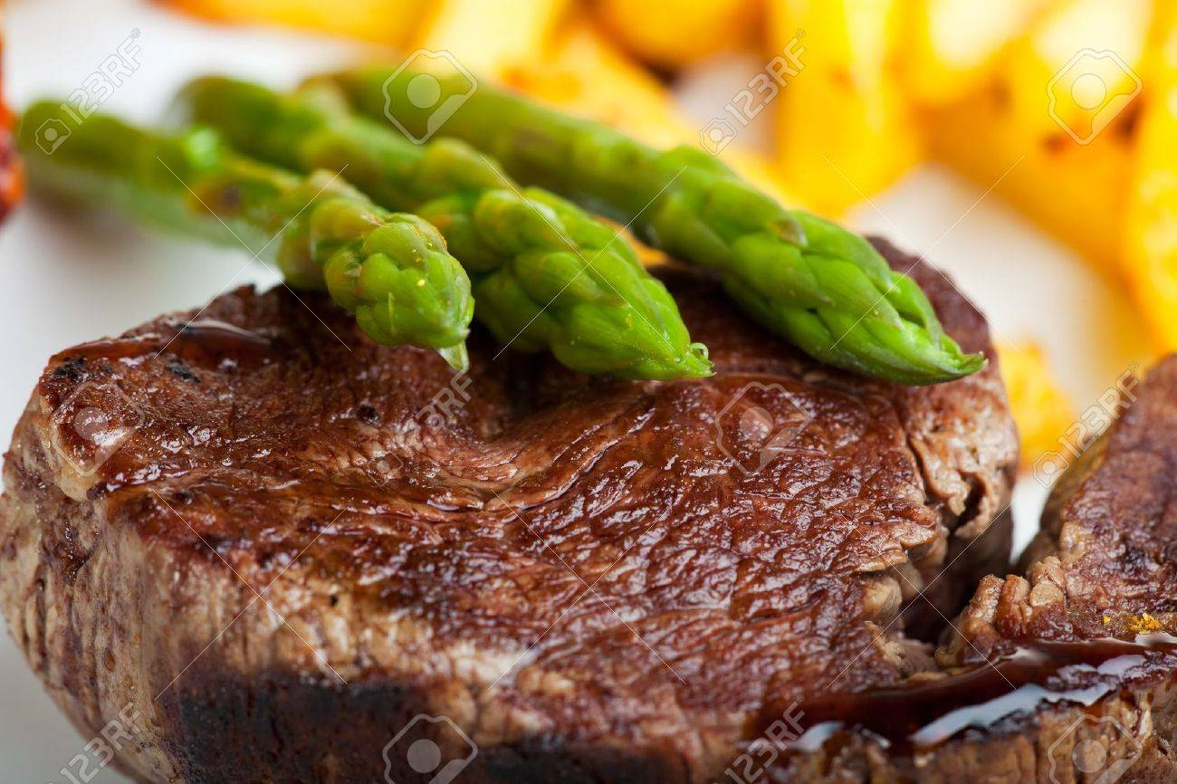 Grilled Steak With Green Asparagus Stock Photo 6241986