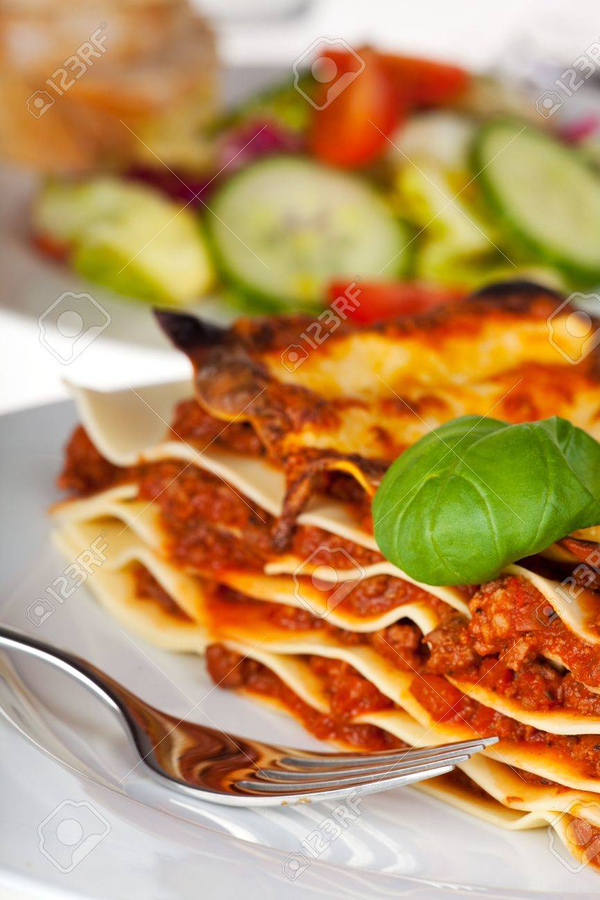 lasagna noodle dish on a white plate Stock Photo - 6585186