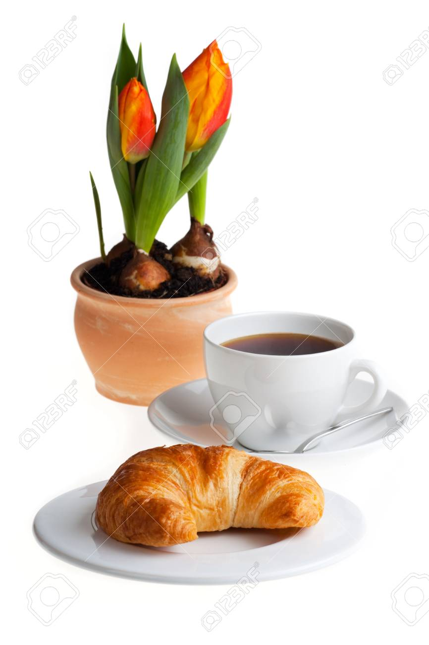 croissant and a cup of coffee Stock Photo - 7721090