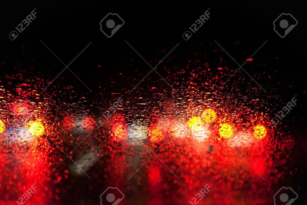 Blurred Car Lights In The Rain Stock Photo Picture And Royalty Free