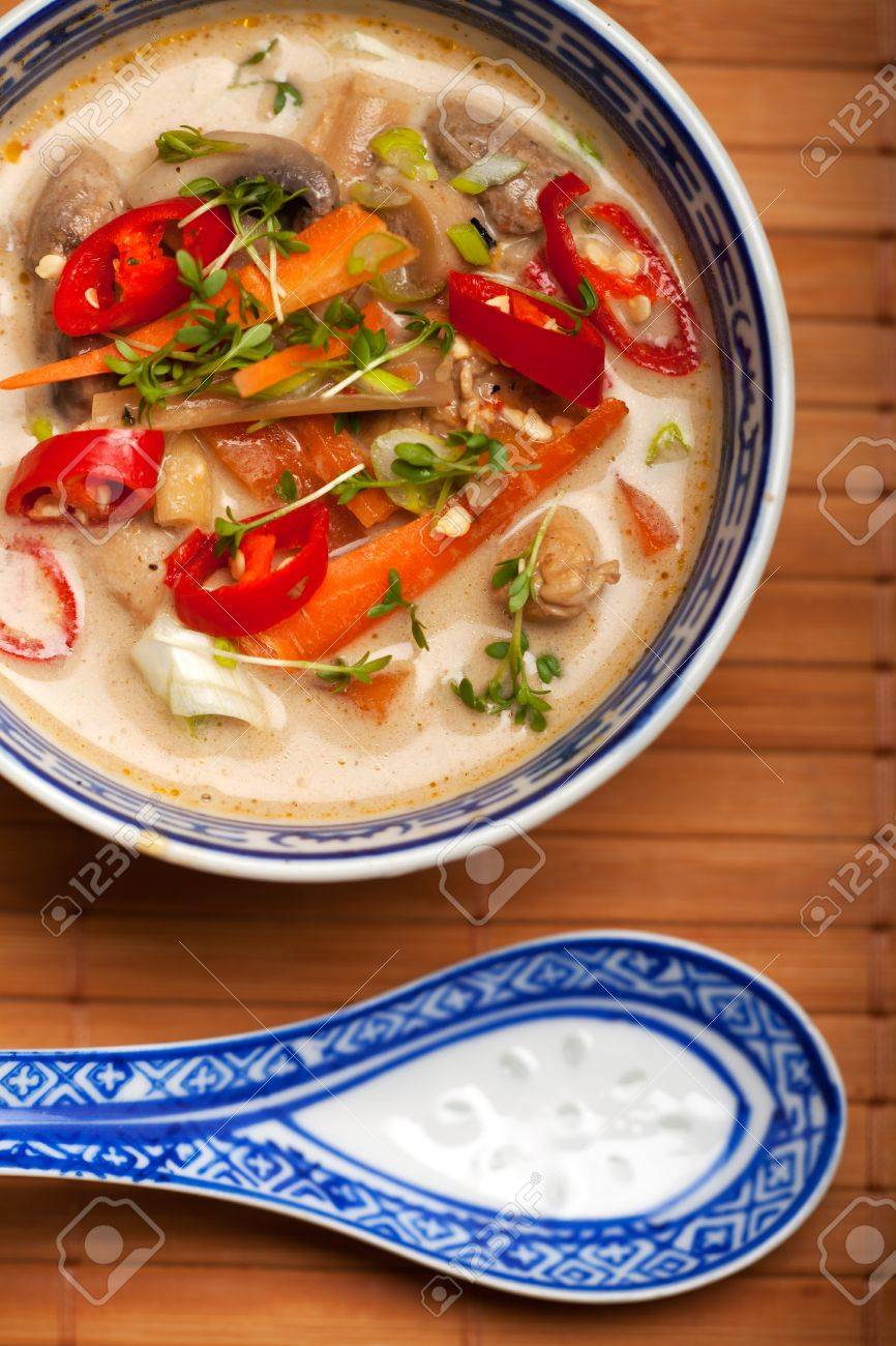 tom kha gai soup with chicken and chili Stock Photo - 9120249