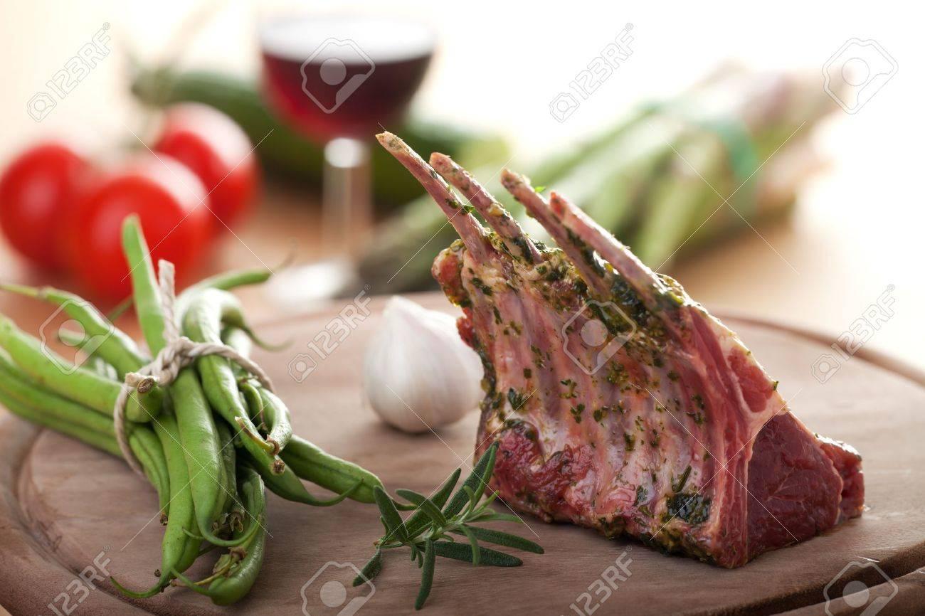 closeup of raw lamb chops - 9457525