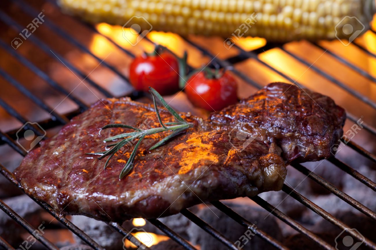 closeup of a steak on a grill Stock Photo - 10615766